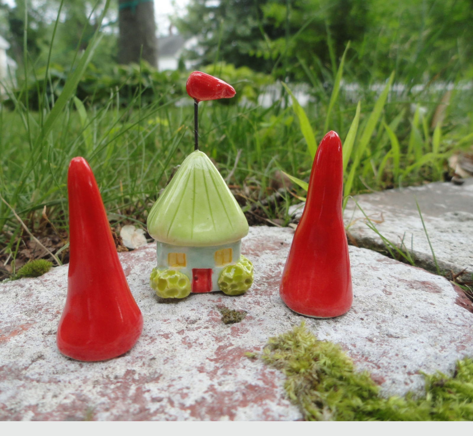 Two Red Trees for a Gnome Homes ceramic pottery sculpture clay fairy house  garden miniature forest terrarium beatlebaby