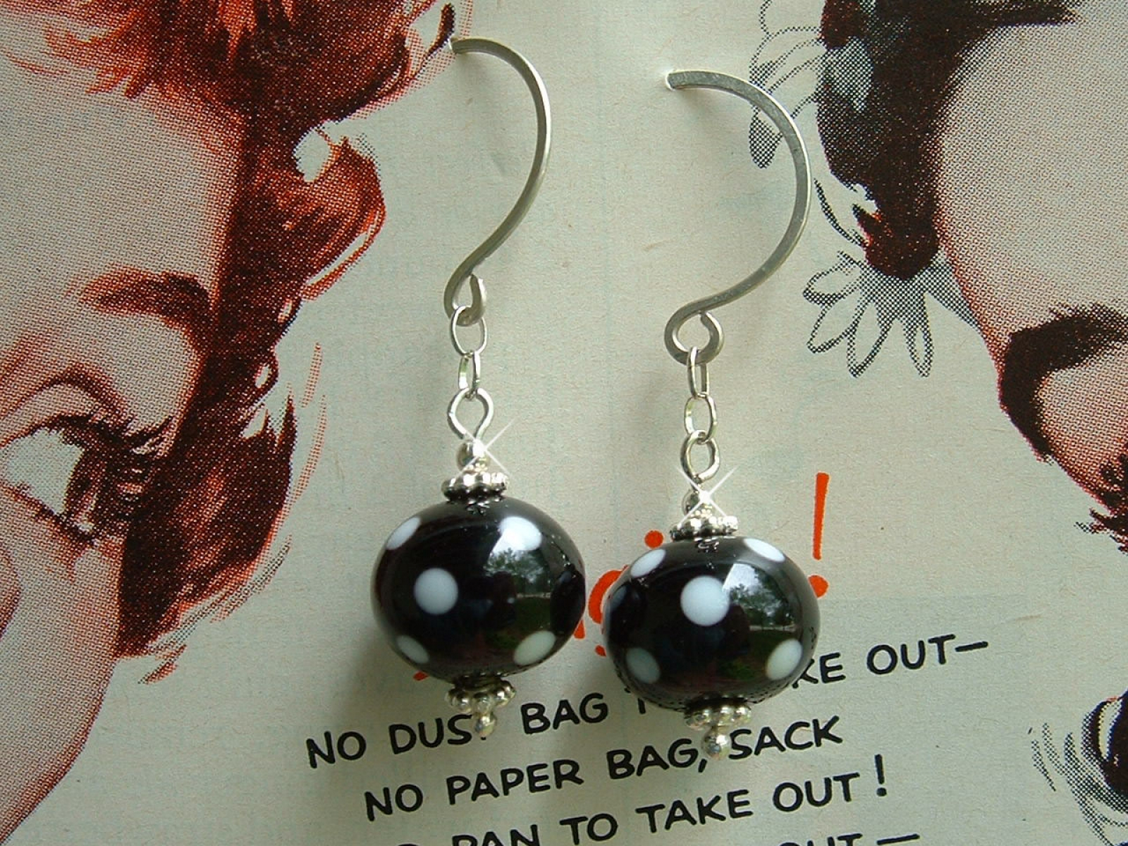 Lucille Black And White Polka Dot Earrings Lampwork Gl Beads Sterling Silver