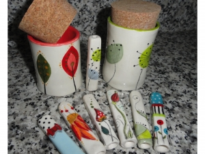 Hand built and painted Stash Jars and Chillums!