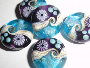 New Color Combo!  Sparkling Sea Tabs in Violet and Aqua! Set of FOUR
