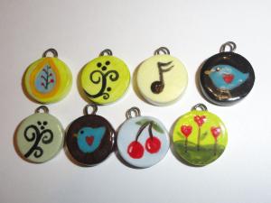 Ceramic Charm Bargain Lot...HandPainted Tabs...8 pcs