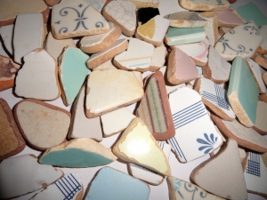 MEDITERRANEAN Sea Pottery LOT #3 Medium pcs. Plucked from Porto Ercola on the Tuscan Coast of Italy