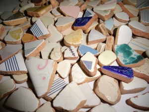 MEDITERRANEAN Sea Pottery LOT #1...Jewelry Size.  Plucked from Porto Ercola on the Tuscan Coast of Italy