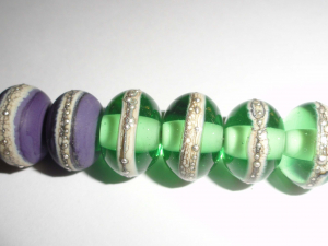 Silvered Seconds in Eggplant and Bottle Green    6pcs