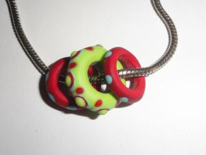 DREAD RINGERS.......Set of three Lampwork Beads... 10 mm hole for chain, heavy cord or Dreads..Dreadlock....BeatleBabyGlassworks