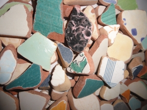 MEDITERRANEAN Sea Pottery LOT #2 Thicker pcs.  Plucked from Porto Ercola on the Tuscan Coast of Italy
