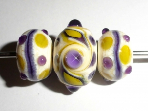 Ochre-Violet Combo trio...Three Lampwork Glass Beads.. One focal and two accent beads