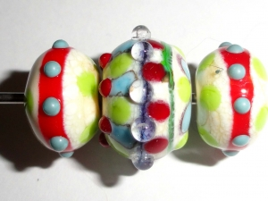 Farmhouse Fun!...Three Lampwork Glass Beads.. One focal and two accent beads