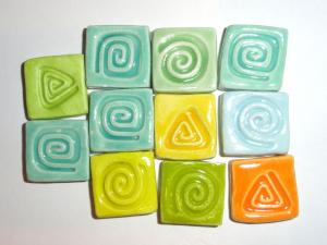 Ceramic Tile Bead Bargain Lot...11 Pcs