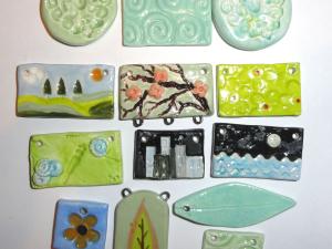 Ceramic Charm Bargain Lot...HandPainted Charms and Pendants...13 pcs