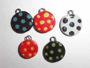 Ceramic Charm Bargain Lot...5 pcs...Polka Dots