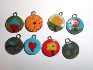 Ceramic Charm Bargain Lot...Painted Tabs...8 pcs