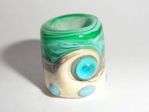 Dreaded Mini Seas in Streaky Teal and Cream Seconds..8mm Beatlebaby lampwork glass bead dreadlock sea glass water tropical dread ocean beach blue green