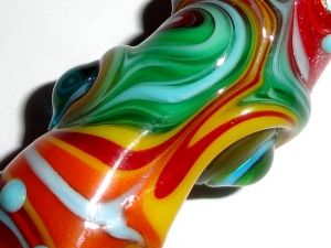 Dreaded Rainbow Skies...Lampwork Glass Dread bead  8mm hole