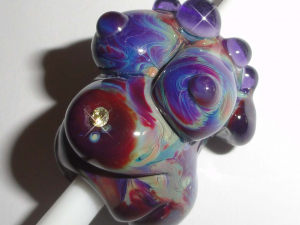 Dreaded Bejeweled Belly Goddess with Violet... Lampwork Glass Dread Bead 8mm Dreadlocks earth pregnant mother baby bump maternity birth doula midwife