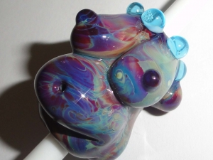 Dreaded Hippy Chick Goddess with Aqua... Lampwork Glass Dread Bead 8mm Dreadlocks earth pregnant mother baby bump maternity birth doula midwife