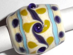 Dreaded Dotty Menagerie Lampwork Glass Bead Dread bead ... 10mm hole
