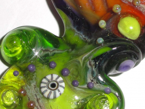 "Amber Seas......A Beatlebaby Original ""Sea Bead""...One of a Kind Lampwork Glass Bead"