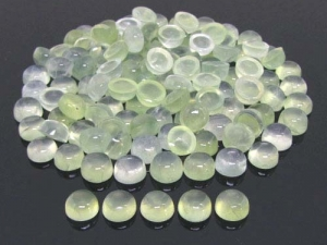 Prehnite...  2pcs,  8mm cabochon, semi precious stone, Soft Green, round, flat back
