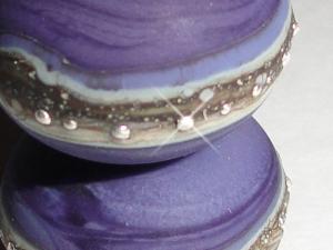 Silvered Eggplant...Set of -2- Handmade Lampwork Glass Beads (shown etched)  Purple Grape beach summer sea glass  BeatleBabyGlassworks