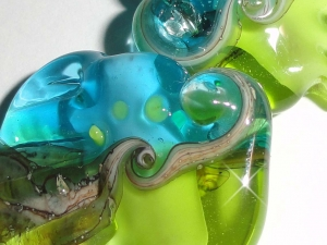 Sea Tarts in Lime and Aqua....Ocean beach summer tropical green blue ocean water cruise  Beatlebaby Glassworks