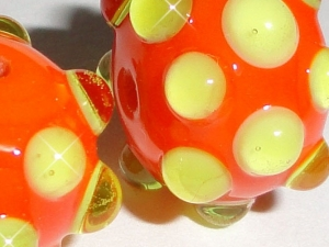 GOOSE BUMPS in Orange/Lime.... One Pair of Handmade Lampwork Earring Beads...green dots bright citrus BeatleBaby Glassworks