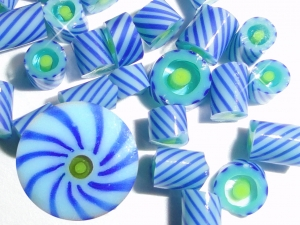 Turquoise Twizzles.....Handmade Murrini Chips...Millefiori Slices twirl spin twisted blue lime COE 104....Beatlebaby Supply