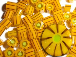 Mad as a Hornet.....Handmade Murrini Chips...Millefiori Slice yellow gold bee buzz summer garden COE 104....Beatlebaby Supply