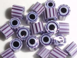 Amaranthine .....Lampwork Glass millefiori flower star  chip slice Purple Stripes Black Beatlebaby Supply Murrini