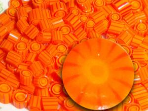 Mandarini... Handmade Murrini Chips Millefiori Slices COE 104....Beatlebaby orange citrus yellow bright sun halloween  SRA