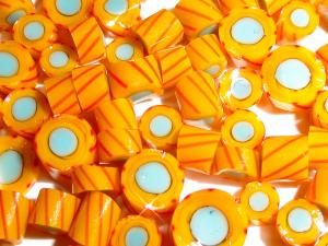 Marigold Twizzles.....Handmade Murrini Chips...Millefiori Slices twist twirl swirl spin orange turquoise COE 104....Beatlebaby Supply