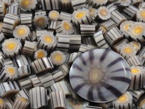 Storm Cloud.....Handmade Murrini Chips...Millefiori Slice earth beach neutral gray yellow COE 104....Beatlebaby Supply