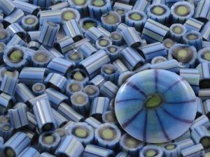 Iris.....Handmade Murrini Chips...Millefiori Slices......COE 104....Beatlebaby Supply