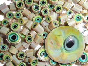 Goblin Snot...Handmade Murrini Chips...Millefiori Slices..COE 104 Reactive Silver glass glass monster eyes eyeballs Beatlebaby Supply