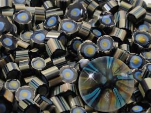 Like Magic.....Handmade Murrini Chips...Millefiori Slices......COE 104 silver glass reactive blue Beatlebaby Supply