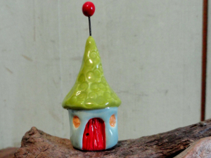 Gnome Home Roof Ball in Lime and Aqua Red barn door ceramic pottery sculpture clay fairy house garden miniature gnome terrarium beatlebaby