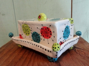 Sputnik Buddah Dish. Ceramic Handpainted Butter Dish pottery cheese plate Turquoise Chartreuse Coral White abstract retro modern Beatlebaby