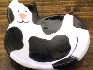 Ceramic Cat Dish rings kitty candle mini plate black white mini trinket dish ring holder   Beatlebaby