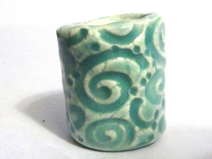 Celadon Swirls 13mm hole dreadlock dread bead ceramic blue pottery sculpture hair hemp beatlebaby sra