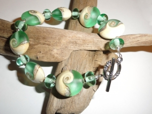 Sand and Surf......Handmade Lampwork Beads and Sterling Silver Bracelet
