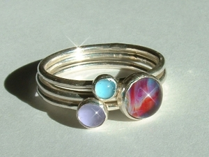 Stackable rings with handmade glass cabachons