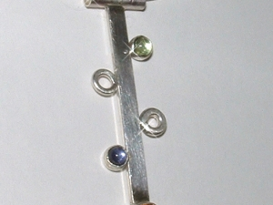 STRAIGHT to the TOP..Handmade Sterling Silver Necklace Pendant with 3 semi-precious stones  November, February and August birthstones