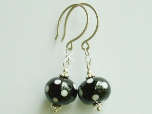 LUCILLE BALLS.....Black and White Polka Dot Earrings... Lampwork Glass Beads and Sterling Silver