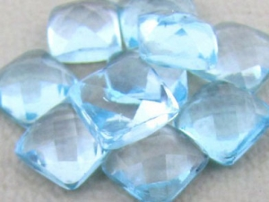 Sky Blue Topaz  6mm Faceted Cushion Cabochon. 3pcs